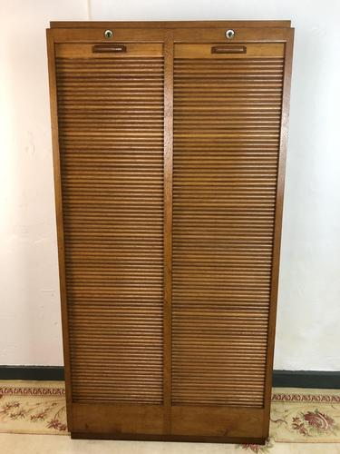 Vintage French Mid Century Double Filing Cabinet Tambour Roller Shutter by G Moreux (1 of 13)