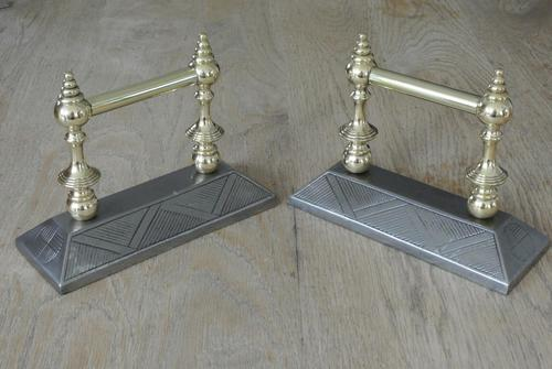 Quality Pair of  Victorian Aesthetic Movement Cast Iron & Brass Fire Dogs Fire Iron Rests Andirons c.1880 (1 of 8)