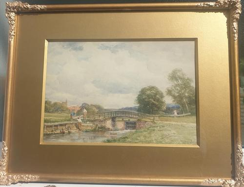 'Lock on the River Wey at Guildford' Watercolour by David Bates  1840-1921 (1 of 2)