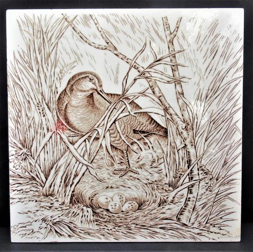 Wedgwood 8 inch tile with Snipe on nest, 1876 (1 of 3)