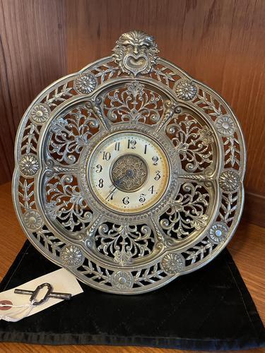 Brass Cased 'Green Man' Mantel Clock (1 of 6)