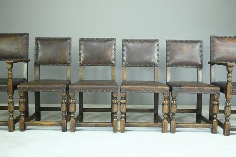 6 Cromwellian Style Brown Leather Dining Chairs (1 of 12)