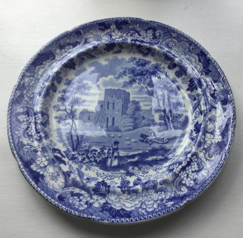 Early 19th Century Blue & White Plate of Lanercost Priory, Cumbria (1 of 2)