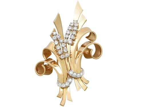 4.32ct Diamond & 18ct Yellow Gold Double Clip Brooch c.1930 (1 of 12)