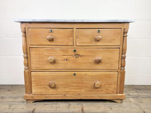 Antique Pine & Marble Chest of Drawers (1 of 15)