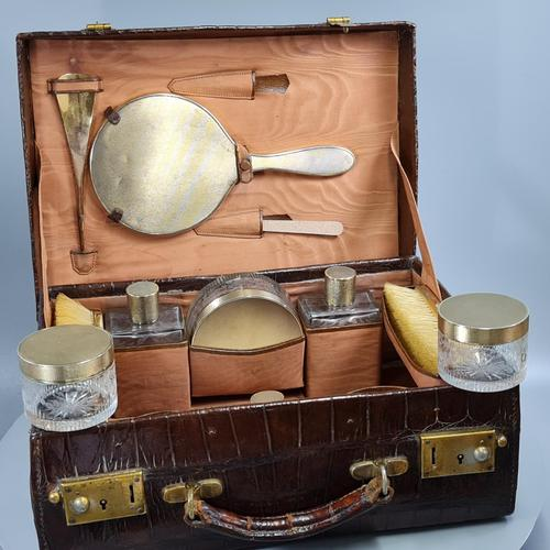 Exceptional Asprey HM Silver Gilt Fittings in Leather Case c.1935 (1 of 27)