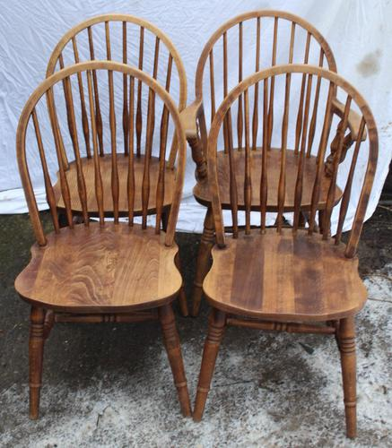 1940s Set 4 Ash Comb Back Chairs. 3 + 1 Carver (1 of 3)