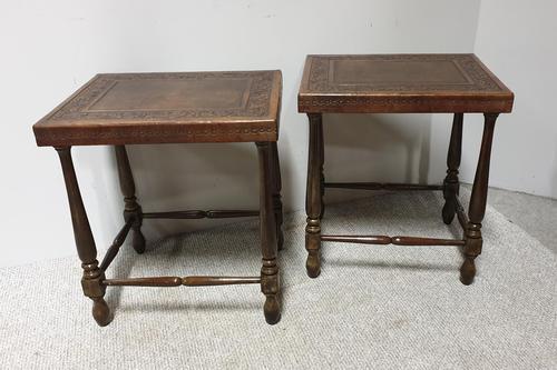 Very Good Pair of Leather Moorish Lamp Tables (1 of 6)