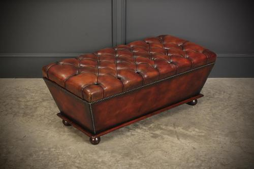 Large Hand Dyed Buttoned Leather Ottoman (1 of 14)