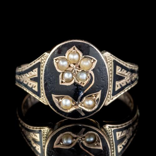 Antique Victorian Enamel Forget Me Not Pearl Ring Mourning Locket 9ct Gold Inscribed 1882 (1 of 10)