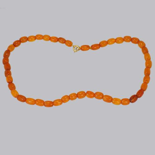Antique Natural Amber Bead Necklace with Barrel Shaped Beads (1 of 11)