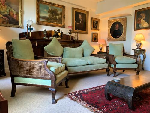 19th Century Antique Mahogany Upholstered 3 Piece Bergere Sofa Suite Armchairs Settee (1 of 15)