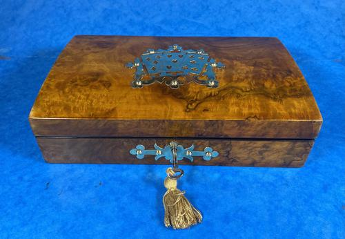 Victorian Brass Bound Burr Walnut  Card Box (1 of 11)