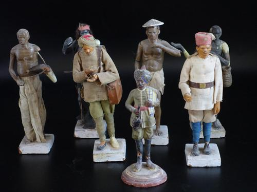 Most Attractive Set of 6 Mid 19th Century Indian Plaster Figures (1 of 3)