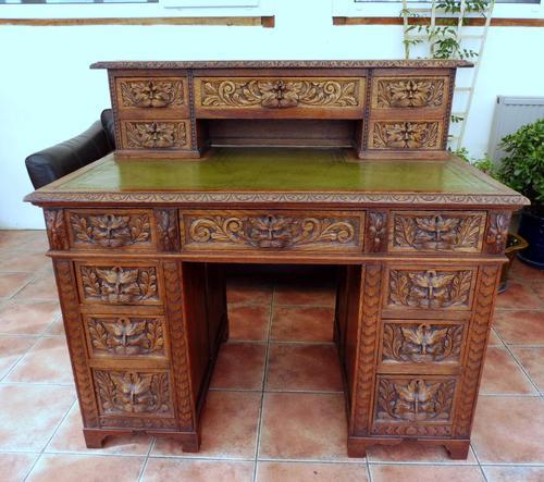 Country Oak Lions Head Pedestal Desk 1860 (1 of 12)