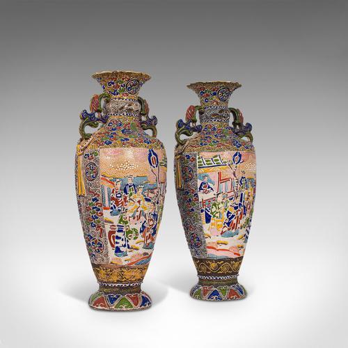 Pair Of Tall Antique Satsuma Vases, Japanese, Ceramic, Decorative, Moriage, 1900 (1 of 12)