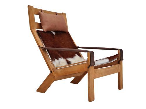 Scandinavian armchair, adjustable back, cowhide, 70s (1 of 20)