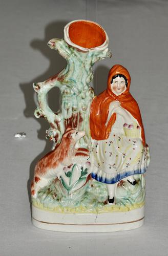 Large Victorian Staffordshire Spill Vase Modelled as Little Red Riding Hood (1 of 4)