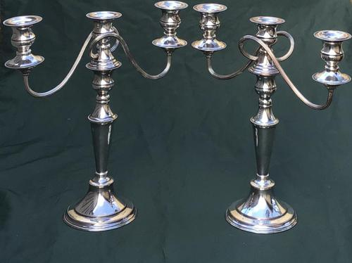 Pair of Edwardian Silver Plate on Copper Three Branch Candelabra (1 of 8)