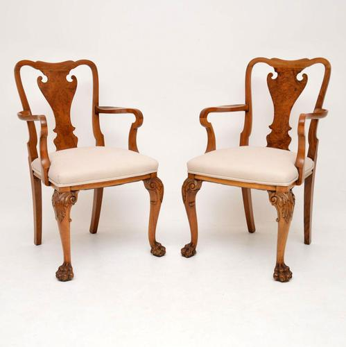 Pair of Antique Walnut Queen Anne Style Carver Armchairs (1 of 10)