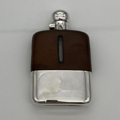 20th Century Modern Sterling Silver & Glass Hip Flask Sheffield 1937 James Dixon & Sons (1 of 9)