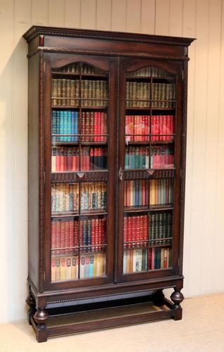 Tall Oak Glazed Bookcase (1 of 10)