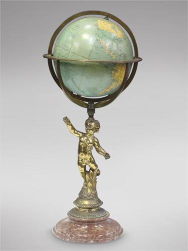 Globe Gilt Brass Figural on Marble Stand (1 of 3)