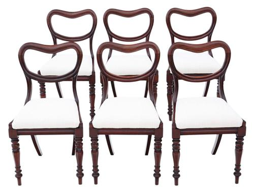 Set of 6 William IV Mahogany Balloon Back Dining Chairs c.1835 (1 of 8)