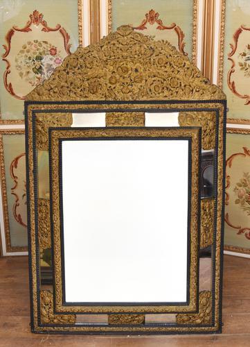 Antique French Cushion Mirror Metal Mounts Circa 1880 (1 of 11)