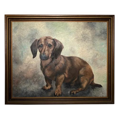 20th Century English Portrait Dachshund Sausage Animal Dog Oil Painting (1 of 12)