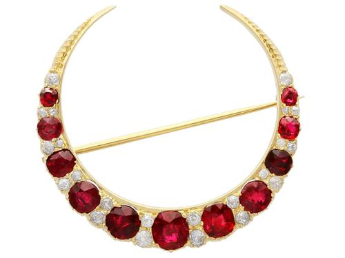3.83ct Ruby & 0.48ct Diamond, 12ct Yellow Gold Crescent Brooch - Antique c.1890 (1 of 9)