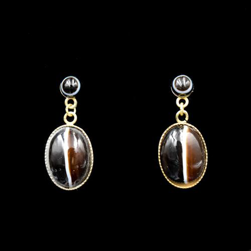 Antique Banded Bullseye Agate Yellow Gold on Silver Drop Dangle Earrings (1 of 6)