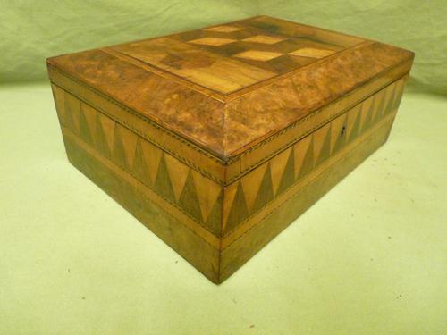 Large Tunbridge Ware Style Jewellery Box - Original Tray c.1870 (1 of 16)