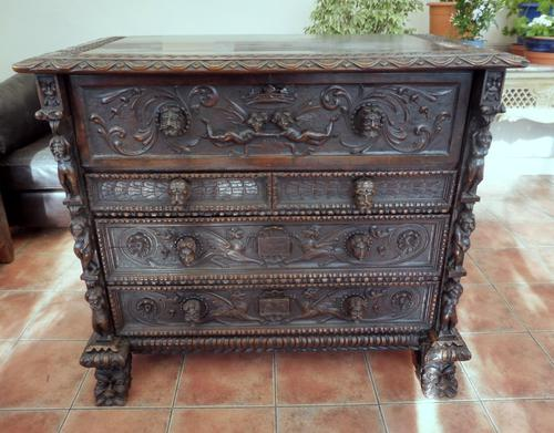 Carved Italian Walnut Chest of Drawers 5 Drawers 1760 (1 of 10)