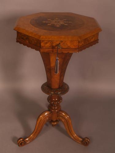 Victorian Hexagonal Ladies Sewing Table in Figured Walnut (1 of 7)