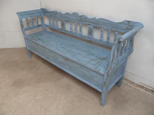 Lovely Sky Blue 3 Seater Antique Pine Kitchen / Hall Box Settle / Bench (1 of 10)
