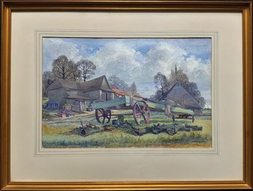 The Green Cart by R.Coleman 1971 - Fine Farmstead Landscape Watercolour Painting (1 of 11)