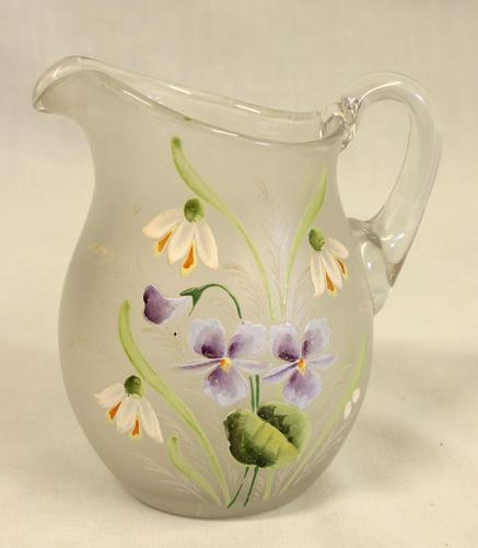 Antique Pretty Frosted Glass Decorated Jug (1 of 4)