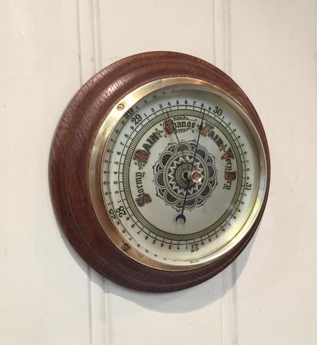 Edwardian Oak Aneroid Barometer c.1901 (1 of 8)