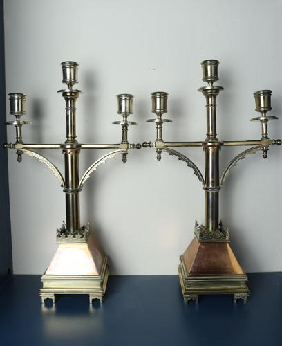 19th Century 'Gothic Revival' church altar brass triple branched candelabra c.1885 (1 of 30)