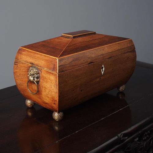 George III Inlaid Rosewood Sarcophagus Shape Tea Caddy (1 of 12)