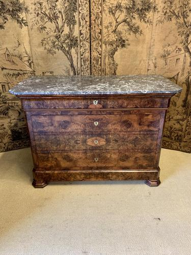 Frech 19th Century Burr Walnut Commode with Marble Top (1 of 7)