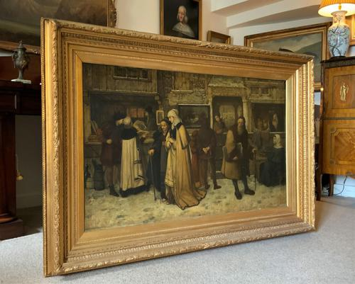 Substantial 19th Century Flemish Oil Painting of Locals in Brugge by Dumont (1 of 21)