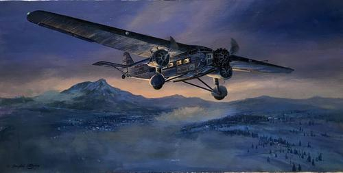 Original Oil on Canvas 'A National Air Transport Plane Powered by a Ford Tri Motor Makes an Approach in the Evening' by Douglas Ettridge - Signed c.1980 (1 of 4)