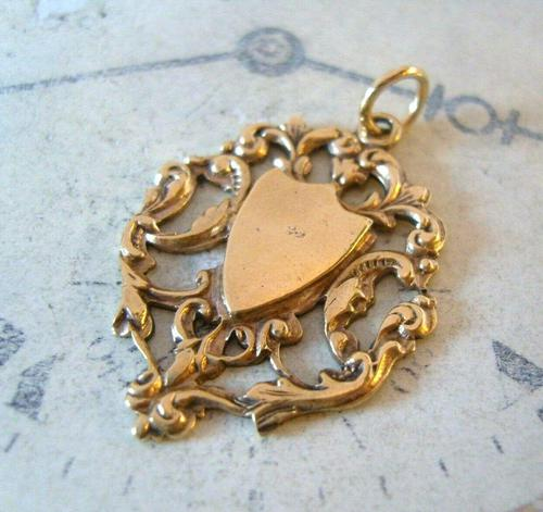 Antique Pocket Watch Chain Fob 1890s Victorian 12ct Rose Gold Filled Shield Fob (1 of 6)