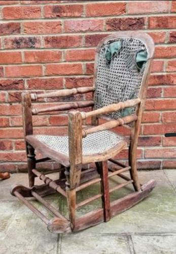 Antique Vintage Adjustable Wooden Wood Children's Baby Toddler High Chair Rocking Chair (1 of 5)