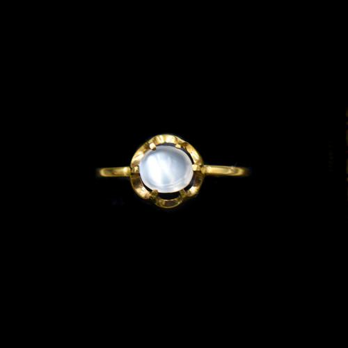 Vintage Moonstone Round Buttercup 18ct 18k Yellow Gold Ring (1 of 9)