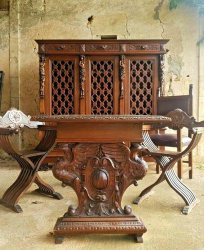 Italian Neo Renaissance Desk, Study Furniture Gothic (1 of 10)
