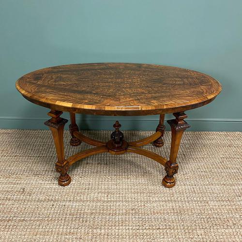 Magnificent Victorian Figured Walnut Antique Centre Table (1 of 9)