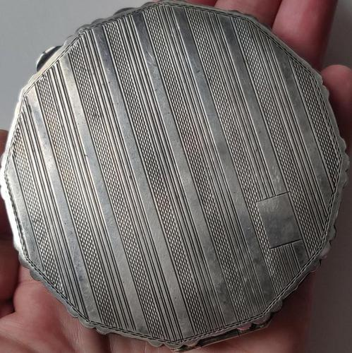 Solid 900 Silver Loose Powder Compact Large Size Continental 1930s-1940s (1 of 13)